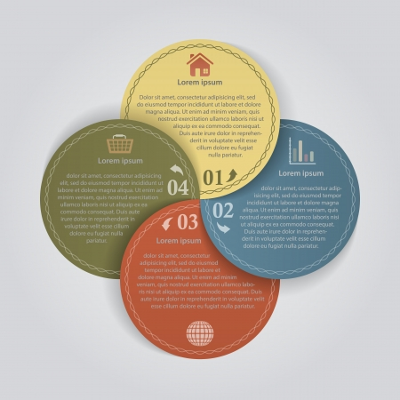 4 color circles with options  Infographic vector