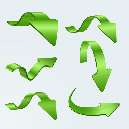 3D Green Arrows  Illustration