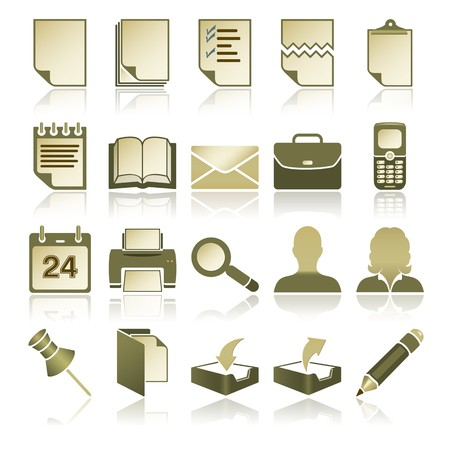 Green office icon set, Vector Design Elements