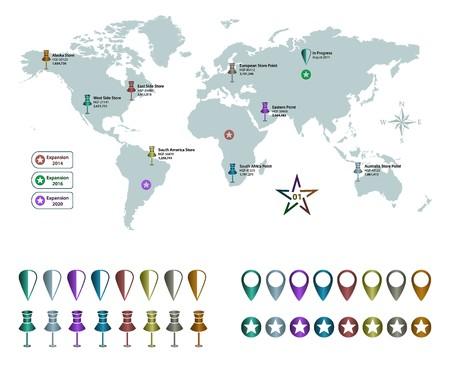 pushpins: Mapa del Mundo y Pasadores
