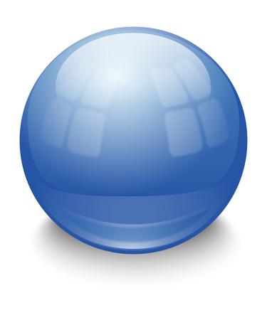 reflection: Shiny blue ball on white