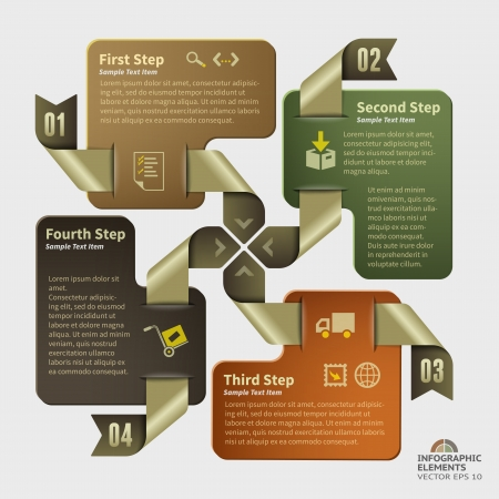 Abstract vector business illustration of four golden ribbons with infographic tags