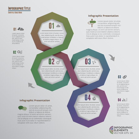 segments: Origami-Style Octagons Infographics with 4 Options