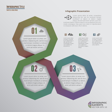 segments: Origami-Style Octagons Infographics with 3 Options Illustration