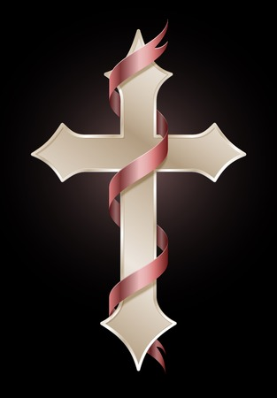 easter cross: Easter Cross with Red Ribbon Illustration