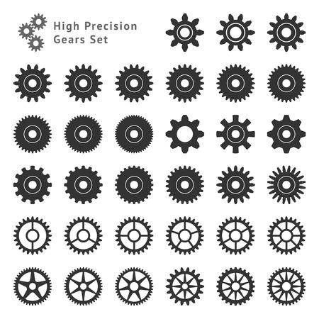 33 歯車の高精度歯の現実的なサイズと形式のセット  イラスト・ベクター素材