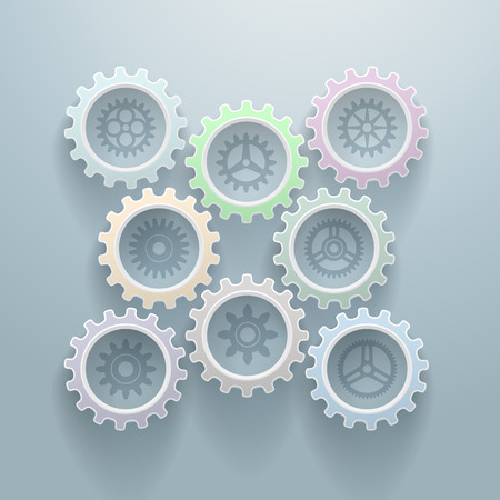 Set of 8 color gears , with 8 different inside gears  Vector decorative background