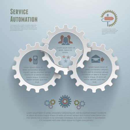 Abstract vector illustration of service automation concept  Can be used for workflow layout, diagram, number options, infographics, web design  Ilustração