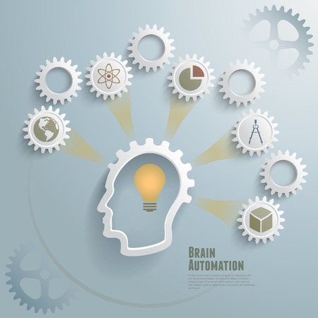 Abstract vector illustration of idea, creation and automation concept  Can be used for workflow layout, diagram, number options, infographics, web design