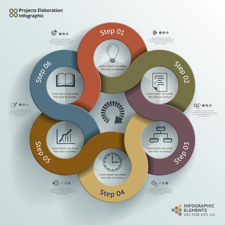 Abstract vector infographic achtergrond illustratie van project uitwerking gemaakt met zes abstracte cirkels Kan gebruikt worden voor workflow layout, diagram, aantal opties, infographics, webdesign Stock Illustratie