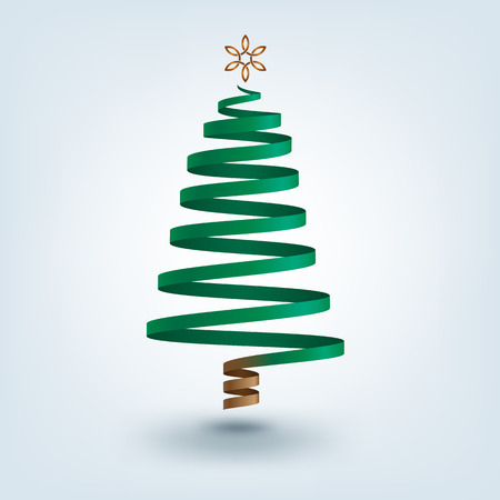 celts: Decorative Christmas tree made with ribbon on shaded background