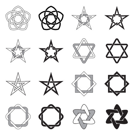 Collection of decorative Celtic Stars patterns isolated on white background.