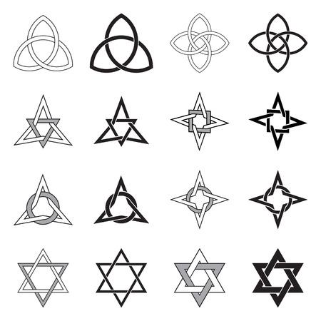 Colección de patrones decorativos Celtic estrellas aisladas sobre fondo blanco.