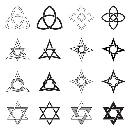 Collezione di decorativi celtica stelle pattern isolato su sfondo bianco. Archivio Fotografico - 33910549