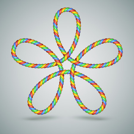 laced: Decorative Multicolor Celtic Shape of a laced rope with five loops. Great for Christmas and Childs.