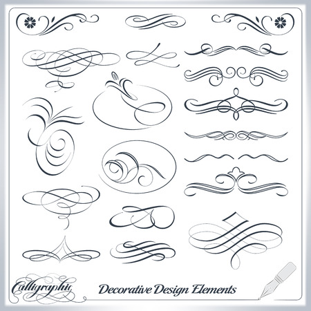 Calligraphic decorative elements in vector format. Ideal for creative layout, greeting cards, invitations, books, brochures, stencil and many more uses.