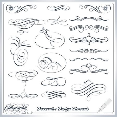 Kalligrafische decoratieve elementen in vector-formaat. Ideaal voor creatieve lay-out, wenskaarten, uitnodigingen, boeken, brochures, stencil en nog veel meer toepassingen. Stock Illustratie