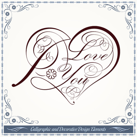 Calligraphic heart decorative elements in vector format. Ideal for valentine card. 免版税图像 - 35514507
