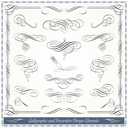 Calligraphic decorative elements in vector format. Ideal for creative layout, greeting cards, invitations, books, brochures, stencil and many more uses. Imagens - 35712538