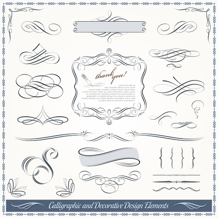Calligraphic decorative elements in vector format. Ideal for creative layout, greeting cards, invitations, books, brochures, stencil and many more uses. 免版税图像 - 35922179