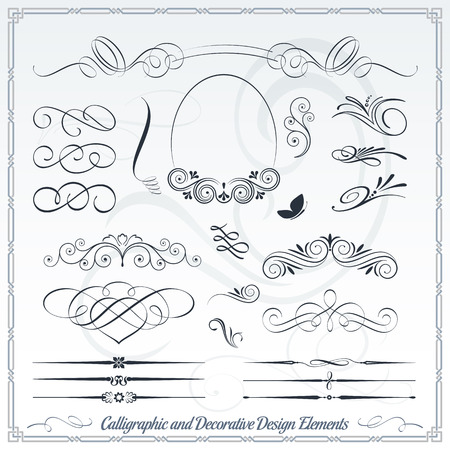 scroll: Calligraphic decorative elements in vector format. Ideal for creative layout, greeting cards, invitations, books, brochures, stencil and many more uses.