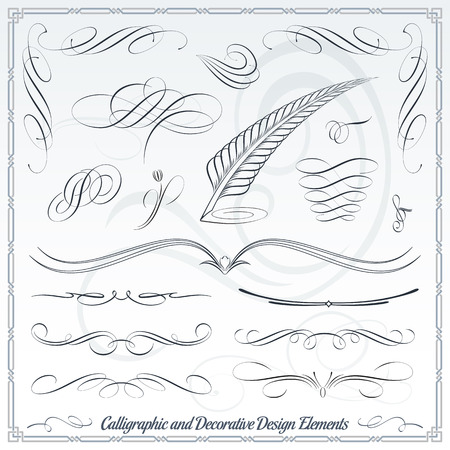 art deco border: Calligraphic decorative elements in vector format. Ideal for creative layout, greeting cards, invitations, books, brochures, stencil and many more uses.