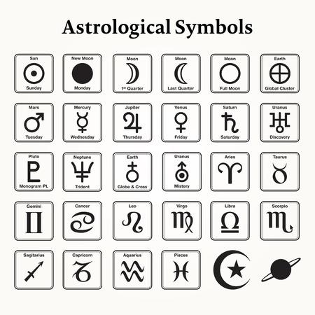 Elements of astrological symbols and signs Illustration