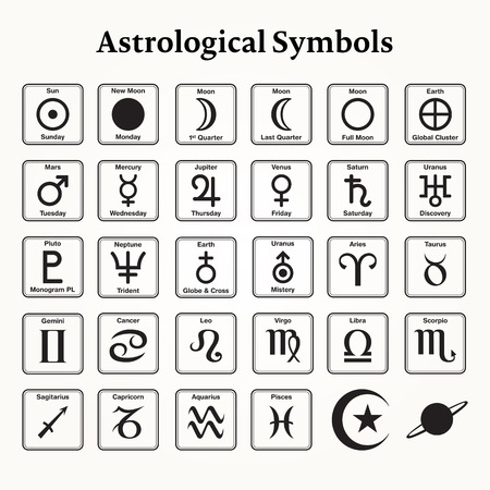 Elements of astrological symbols and signs Ilustração