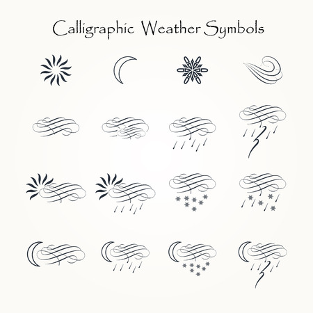 Calligraphic decorative elements of weather in vector format.