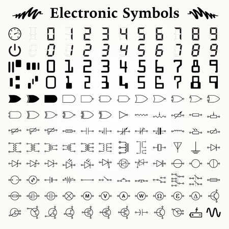 Elements of electronic symbols, icons and signs Illustration