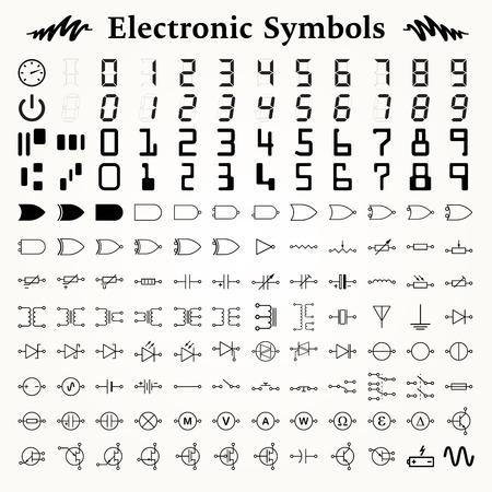 circuitos electronicos: Elementos de s�mbolos electr�nicos, iconos y signos