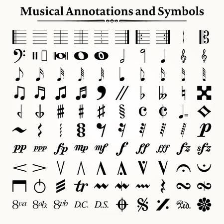 simbolo: Elementos de símbolos musicales, iconos y anotaciones.