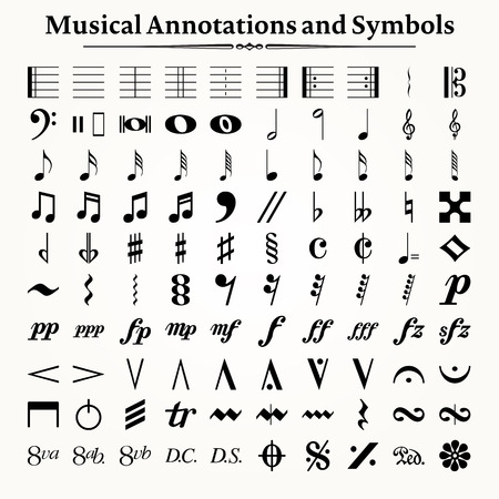 sheet music: Elements of musical symbols, icons and annotations.