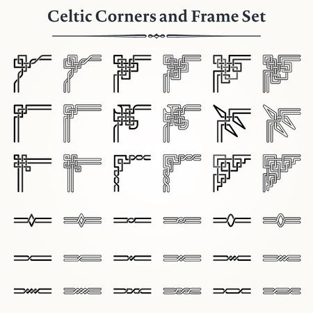 nudo: Conjunto de esquinas celtas y bordes para crear marcos Vectores