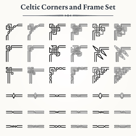Set of Celtic Corners and Borders to create Frames Çizim