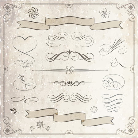 Calligraphic and decorative elements in vector format. Ideal for creative layout, greeting cards, invitations, books, brochures, stencil and many more uses. Ilustração