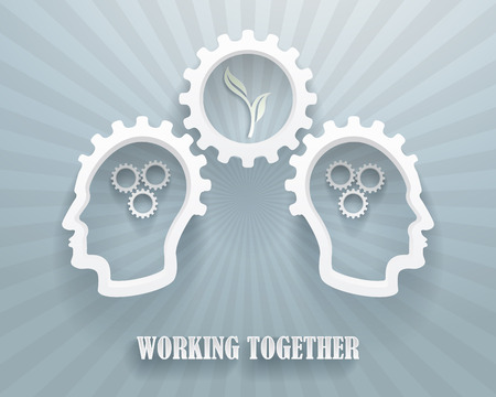 workgroup: Abstract representation of a brainstorming workgroup. Two heads with cogwheels on a blue background. Illustration