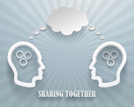 workgroup: Abstract representation of a sharing workgroup. Two heads with clouds on a blue background. Illustration