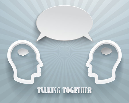 two heads: Abstract representation of a talking workgroup. Two heads with speech bubble on a blue background.