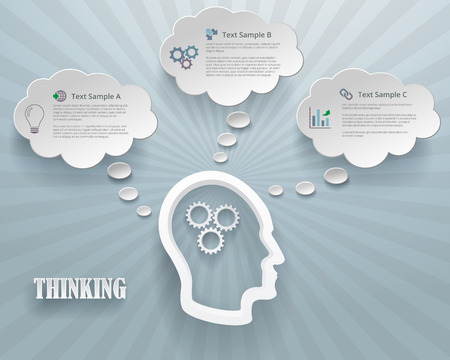 Abstract infographic representation of thinking options. Heads with gears and cloud bubbles on a blue background.