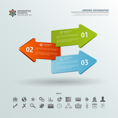 Abstract vector infographic background illustration of three arrows with options . Can be used for workflow layout, diagram, number options, infographics, web design.
