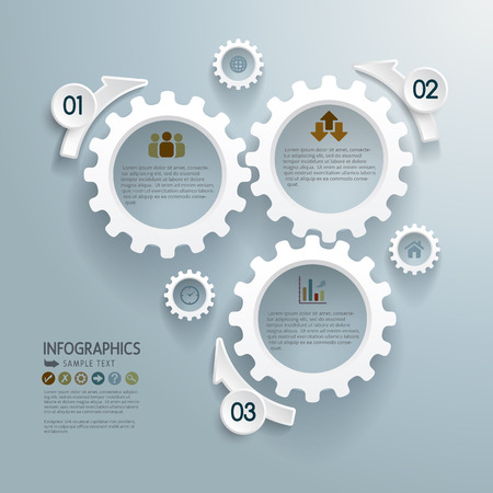 demo: Abstract modern infographics design with cogwheels. Illustration