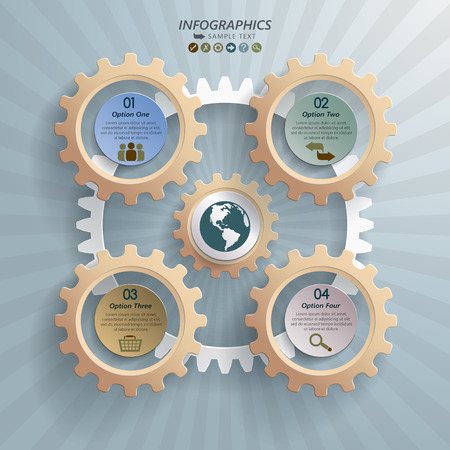 Abstract modern infographic design with five cogwheels and placeholder for steps or options. Can be used for your business, web design, graphic or website layout , diagram, workflow layout, business step options, numbers options, education. Illustration