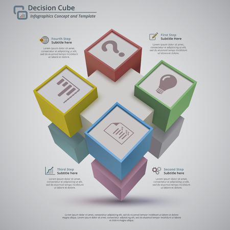 Perspective view of 3d decision cube made with 9 cubes, on a light gray background. There is 4 placeholder for title, number and description. Main shape is white, facing are yellow, blue, green and red. Light shadow effects on the floor. Illustration