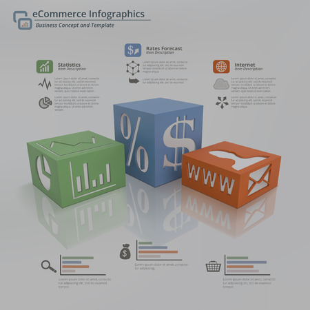 feature: 3D Infographic concept background of three cubes on a white floor with symbols on face and sides. Include placeholder for title and descriptions. This illustration feature statistics,earnings progress and internet tools for electronic commerce business.