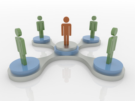 titanium: Abstract 3D concept of people in a work group standing on podium with a leader on center.  Colors are green, orange, titanium and blue, on a white reflective floor. Stock Photo