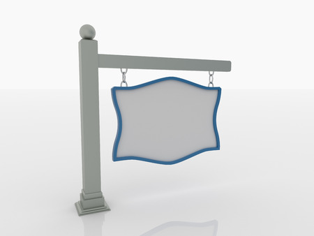 sphere base: Signboard on post with chains on a white floor with a blue frame. 3D rendered artwork. The post has crown on base and a sphere on top. Left side view.
