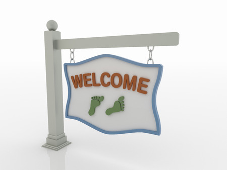 footstep: Welcome Signboard on post with footstep and chains on a white floor with a blue frame.