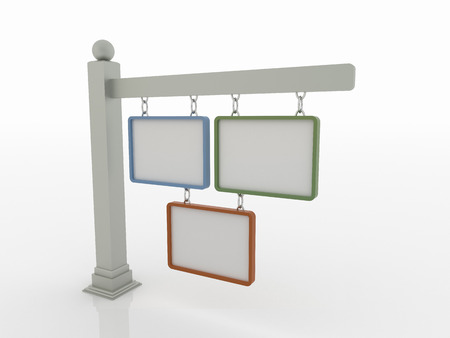 Three signboards on post with chains on a white floor with a bluegreen and orange frame.  Stock Photo