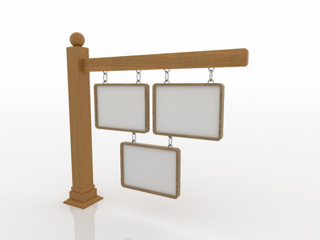 sphere base: Three wooden signboard on post with chains on a white floor and background. 3D rendered artwork. The post has moldings on base and a sphere on top. Stock Photo